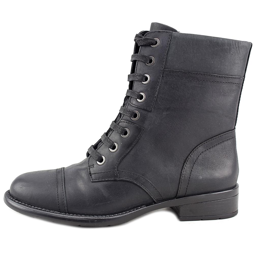 Easy Spirit Janis Women  Round Toe Leather Black Ankle Boot