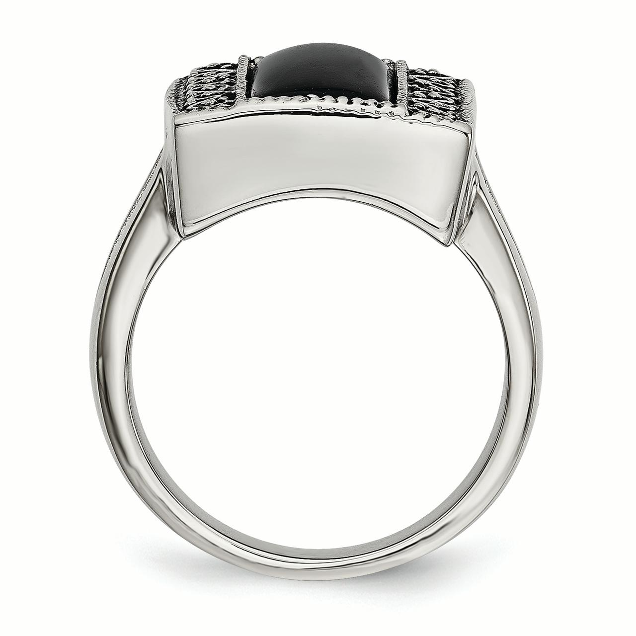 Stainless Steel Fashion Ring Polished Antiqued 17 mm Black Onyx Antiqued Rectangular Ring