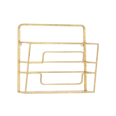 Decmode Modern Gold Iron Wall Mounted Magazine Rack