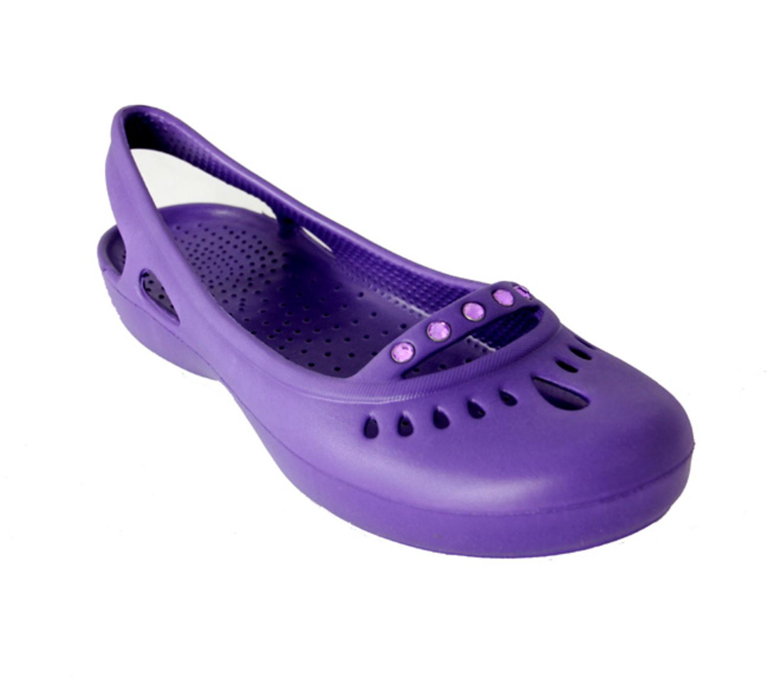 Women's Purple Lightweight Slip-On Comfort Shoes with Gem Accents - Size 6