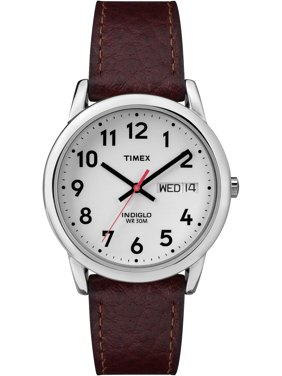 Men's Easy Reader Watch, Brown Textured Leather Strap