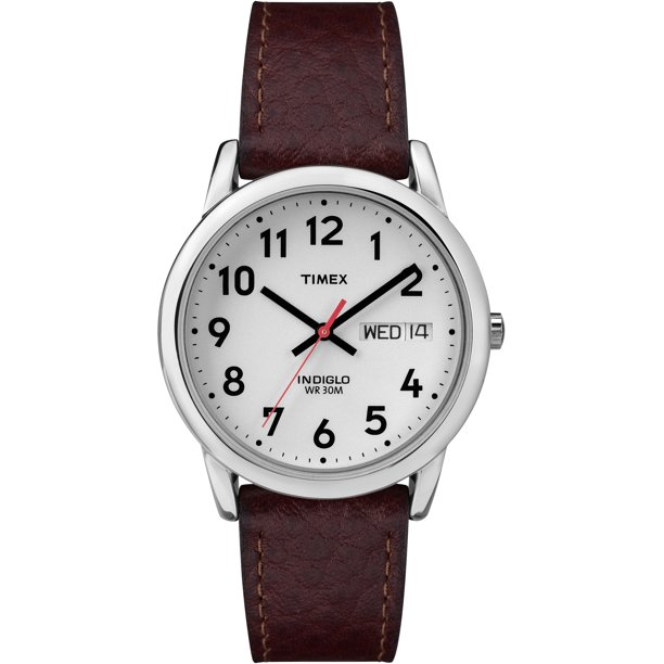 Timex Men's Easy Reader Day-Date 35mm Brown Leather Strap Watch