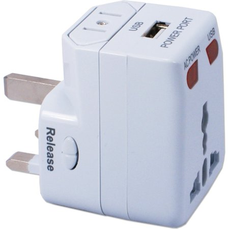 QVS World Power Travel AC Adapter Kit with USB and Surge Protection