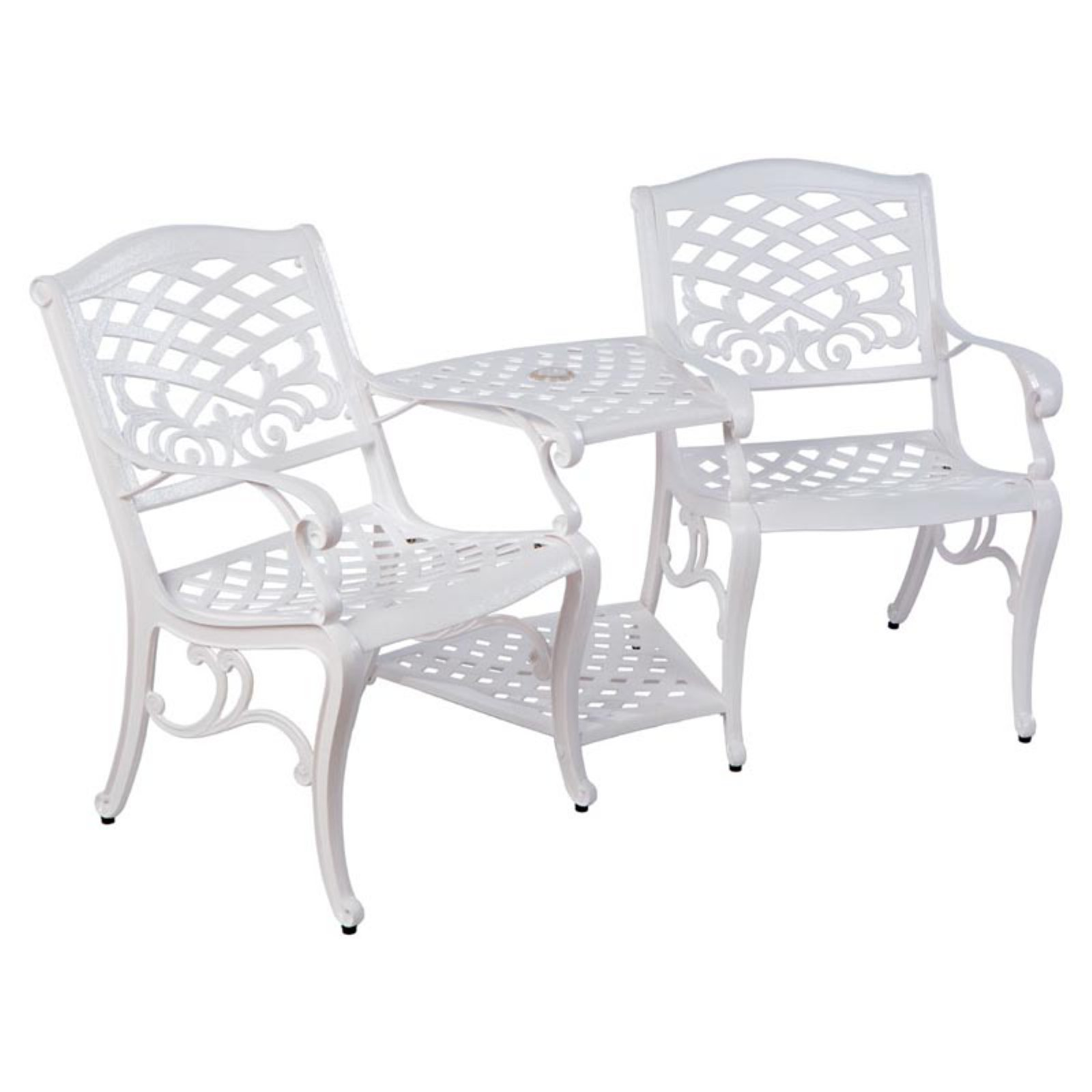 Alfresco Home Tete-a-Tete Cast Aluminum 38 in. Bench with Umbrella Hole