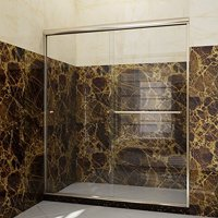 "SUNNY SHOWER B020, 60"" W x 72"" H Frameless Bypass Sliding Shower Doors, 1/4"" Clear Glass, Brushed Nickel Finish"