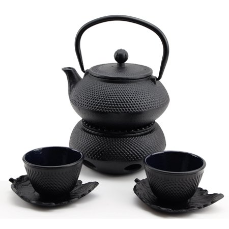 XXXXX Hobnail Iron Teapot Set - Japanese Antique 24 Fl Oz Small Dot Cast Iron Teapot Tetsubin with Infuser, 2 Cups with Saucers and Teapot Warmer, Birthday gift idea for gift price $120