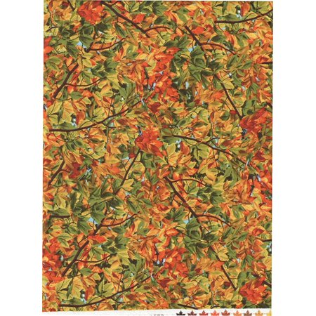Autumn Hardwood Leaves, Orange, Golden Yellow & Green Leaf Fabric ~ HALF YARD!! ~ PATT# NATURE-C4979 ~ by Timeless Treasures Quilt Fabric 100%.., By Tiger Textiles ()