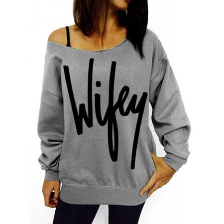 f7716095b030d Vista - Women Off Shoulder Sweatshirt Slouchy Wifey Shirt Long Sleeve  Pullover Tops - Walmart.com