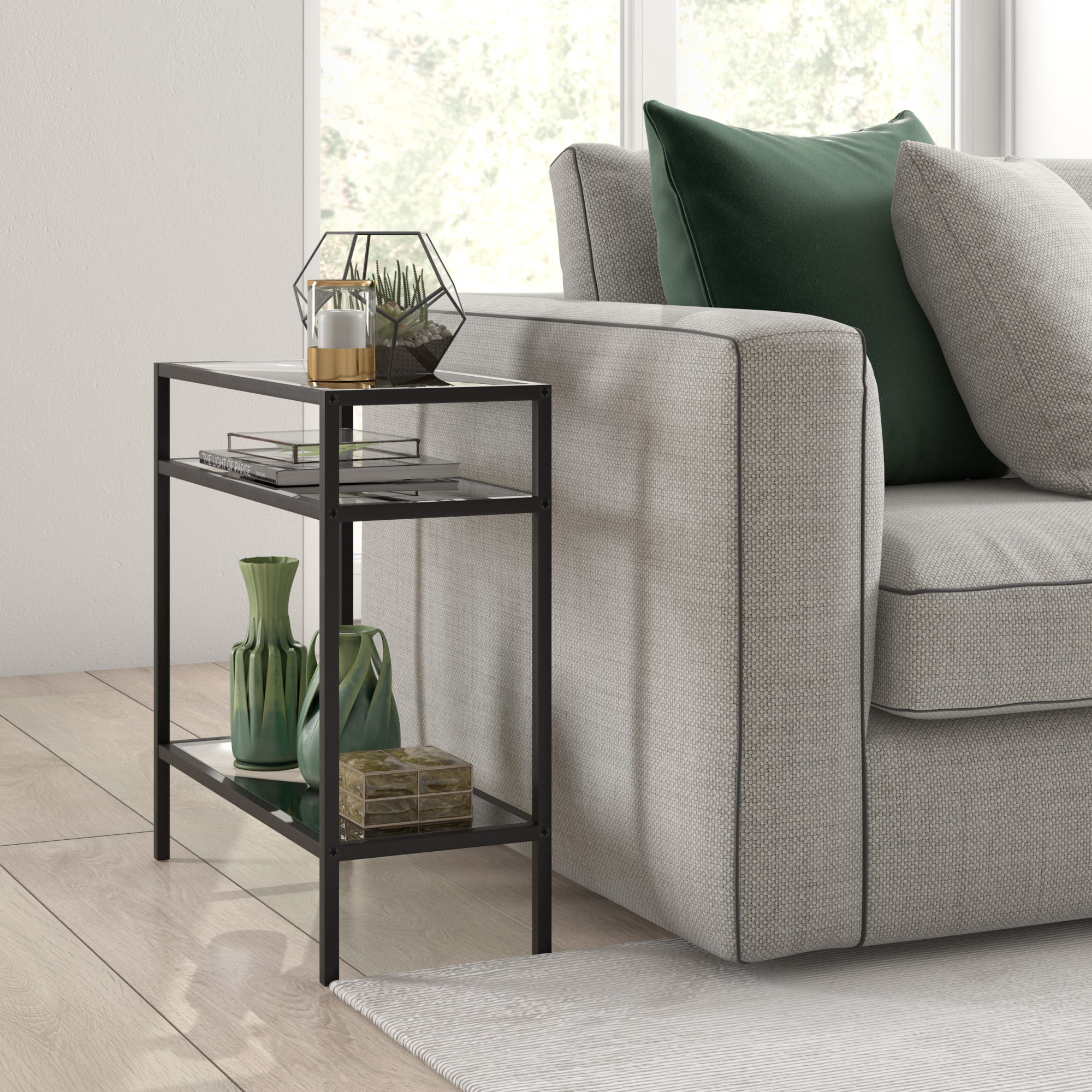 evelynzoe contemporary rectangular side table with glass