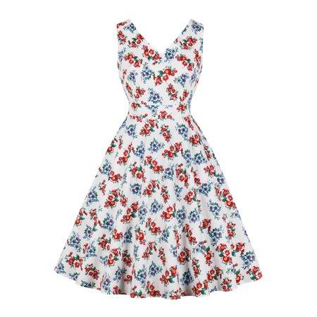 UKAP Womens Long Dress Party Cocktail Evening Tea Vintage 1950s Sexy Floral Summer Elegant Maxi Dresses