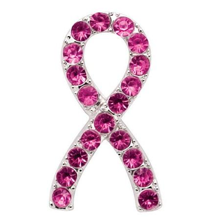 Breast Cancer Awareness Pink Crystal Ribbon Tac Pin