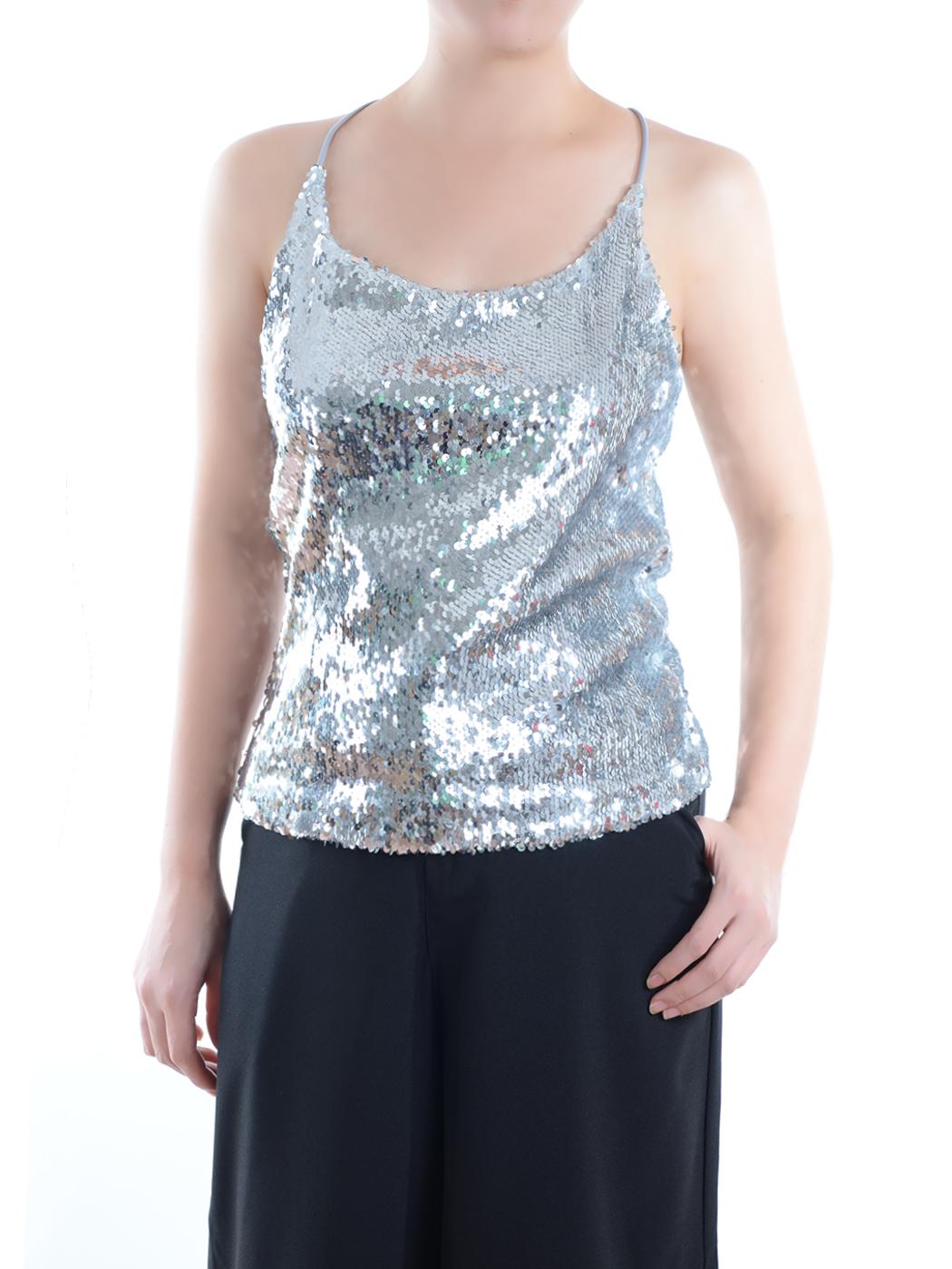 Anna-Kaci Summer Womens Vest Sequin Spaghetti Strap Crop Camisole Tank Top, Matte or Shiny 10 Color