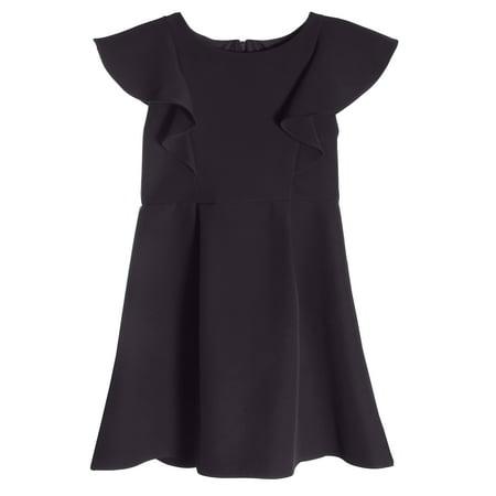 Little Girls Princess Ruffle A Line Back to School Party Flower Girl Dress Black Size 4