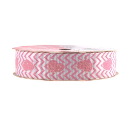 Glitter Hearts Chevron Grosgrain Ribbon, 7/8-inch, 4-yard, Light Pink - Ribbon Heart