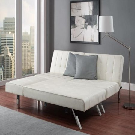 Modern Sofa Bed Sleeper Faux Leather Convertible Sofa Set Couch Bed Sleeper  Chaise Lounge Furniture Vanilla White