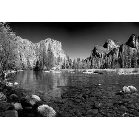 California Yosemite Valley View From The Bank Of Merced River Poster Print By Anna Miller
