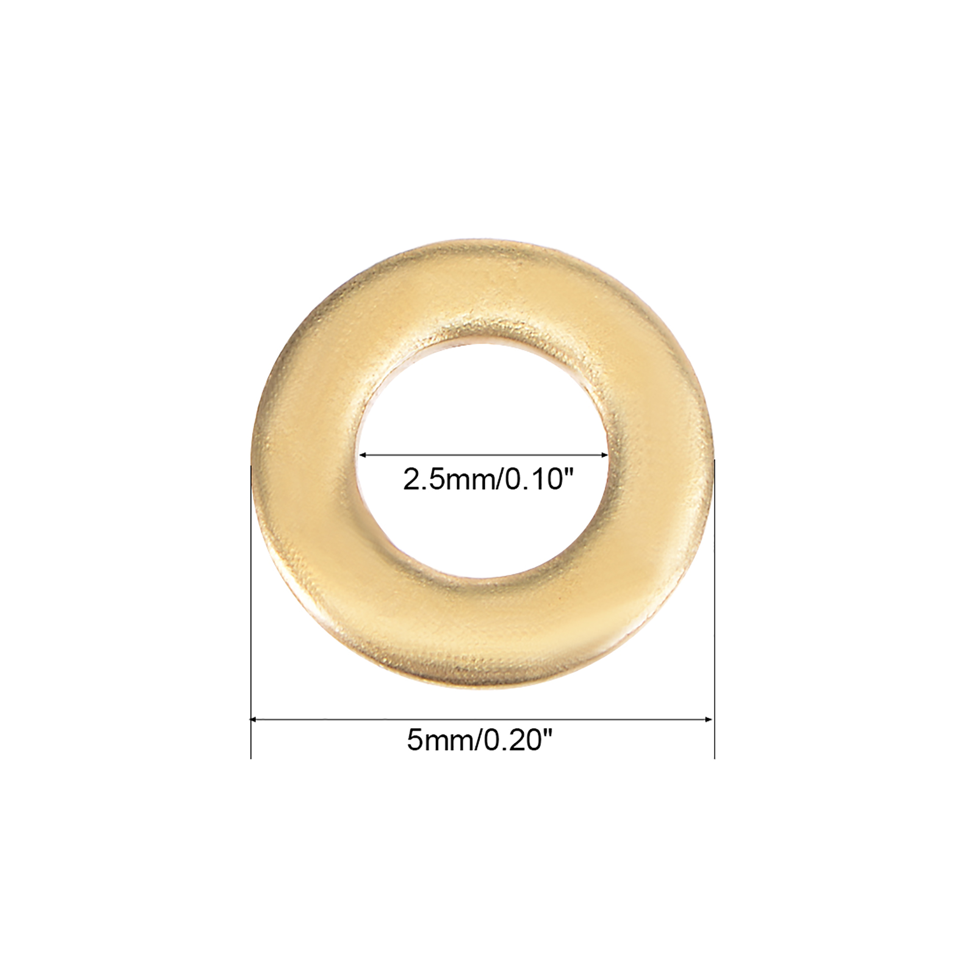 100Pcs 2.5mm x 5mm x 0.5mm Copper Flat Washer for Screw Bolt - image 2 de 3