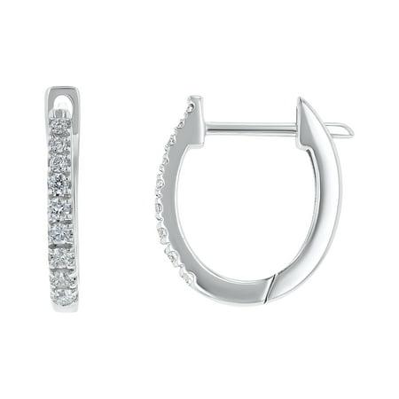 14k White Gold 1/5 Carat Diamond Hoop Earrings (H-I, SI2-I1)