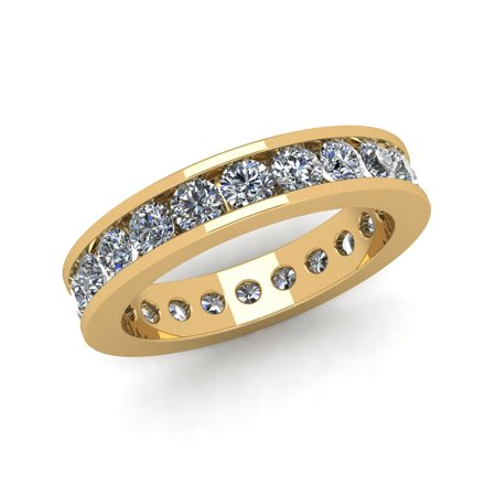 Cut Diamond Ring Band - Natural 2.25Ct Round Cut Diamond Classic Channel Set Women's Anniversary Wedding Eternity Band Ring Solid 14k Yellow Gold G-H I1