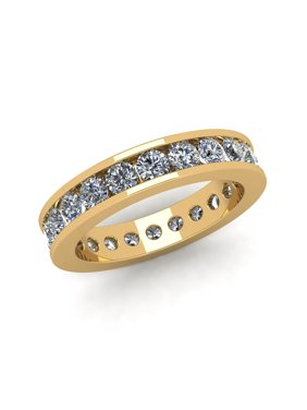 Natural 2.25Ct Round Cut Diamond Classic Channel Set Women's Anniversary Wedding Eternity Band Ring Solid 14k Yellow Gold G-H I1