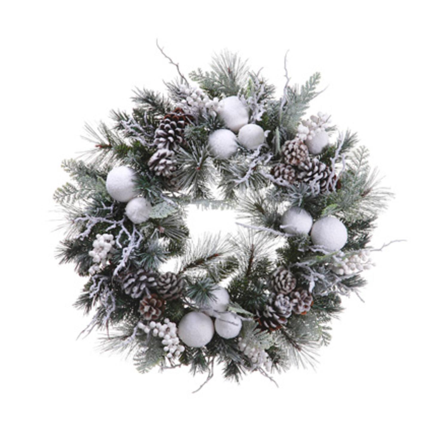 "24"" Pre-Decorated Snowy Flocked Ball Artificial Christmas Wreath - Unlit"
