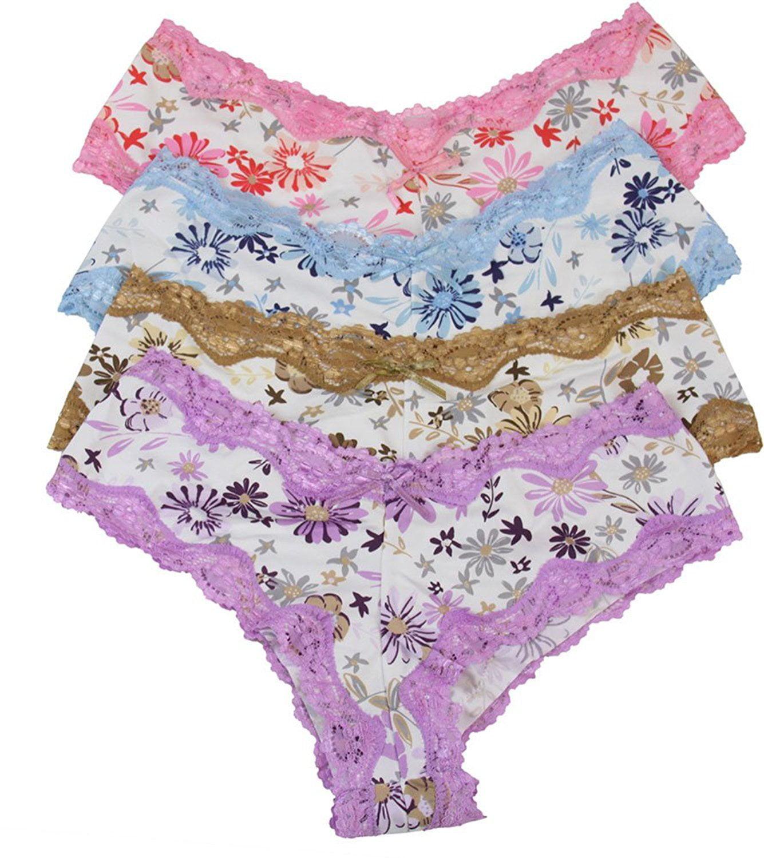 ToBeInStyle Womens Pack of 6 Bikini Briefs with Bedazzled Utama Flower