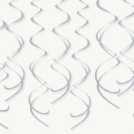 SILVER PLASTIC SWIRL DECORATIONS