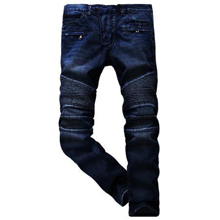 - SKYLINEWEARS Men's Fashion Slim Ripped Straight Zipper Distressed Biker Jeans
