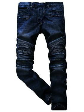 454b7d2c Product Image Mens Skinny Destroyed Biker Slim Fit Straight Fashion Stretch  Biker Zipper Jeans