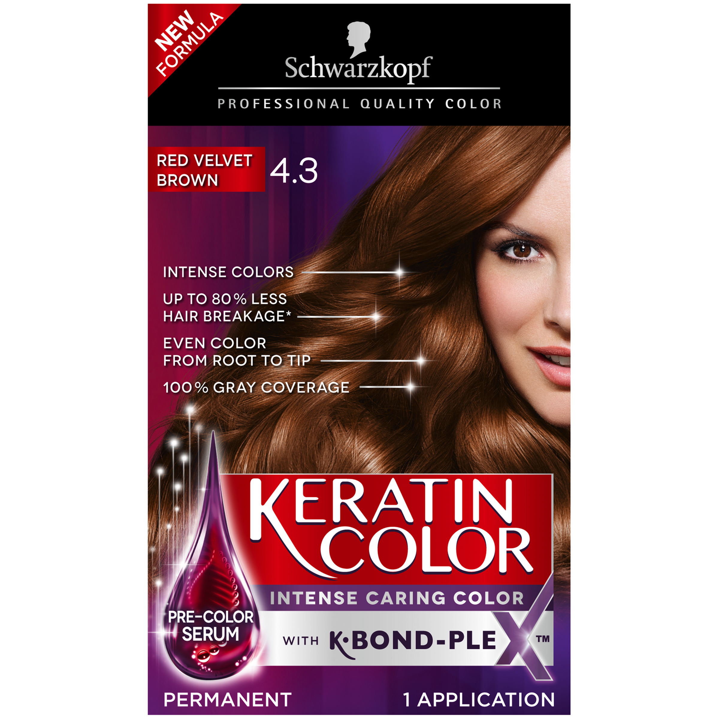 Schwarzkopf Keratin Color Permanent Hair Color Cream 55 Cashmere