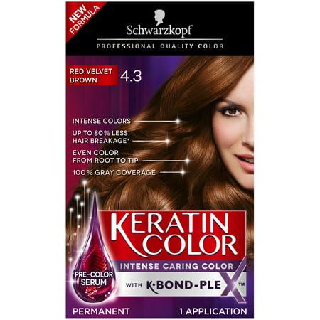Schwarzkopf Keratin Color Permanent Hair Color Cream, 4.3 Red Velvet ...