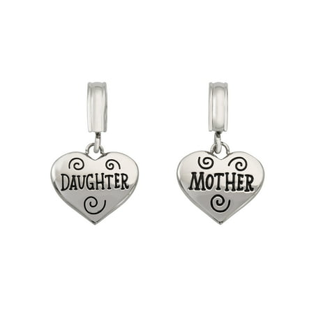 Stainless Steel Mother and Daughter Heart Dangle Charm Set