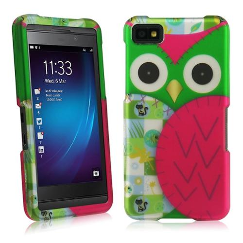 Insten For Blackberry Z10 Rubberized Design Cover Case - Owl