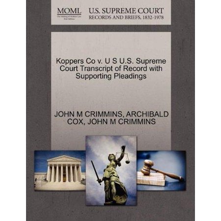 Koppers Co V  U S U S  Supreme Court Transcript Of Record With Supporting Pleadings