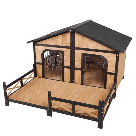PawHut Wood Large Dog House Cabin Style Elevated Pet Shelter Nap Porch (Best Wood For Dog House)