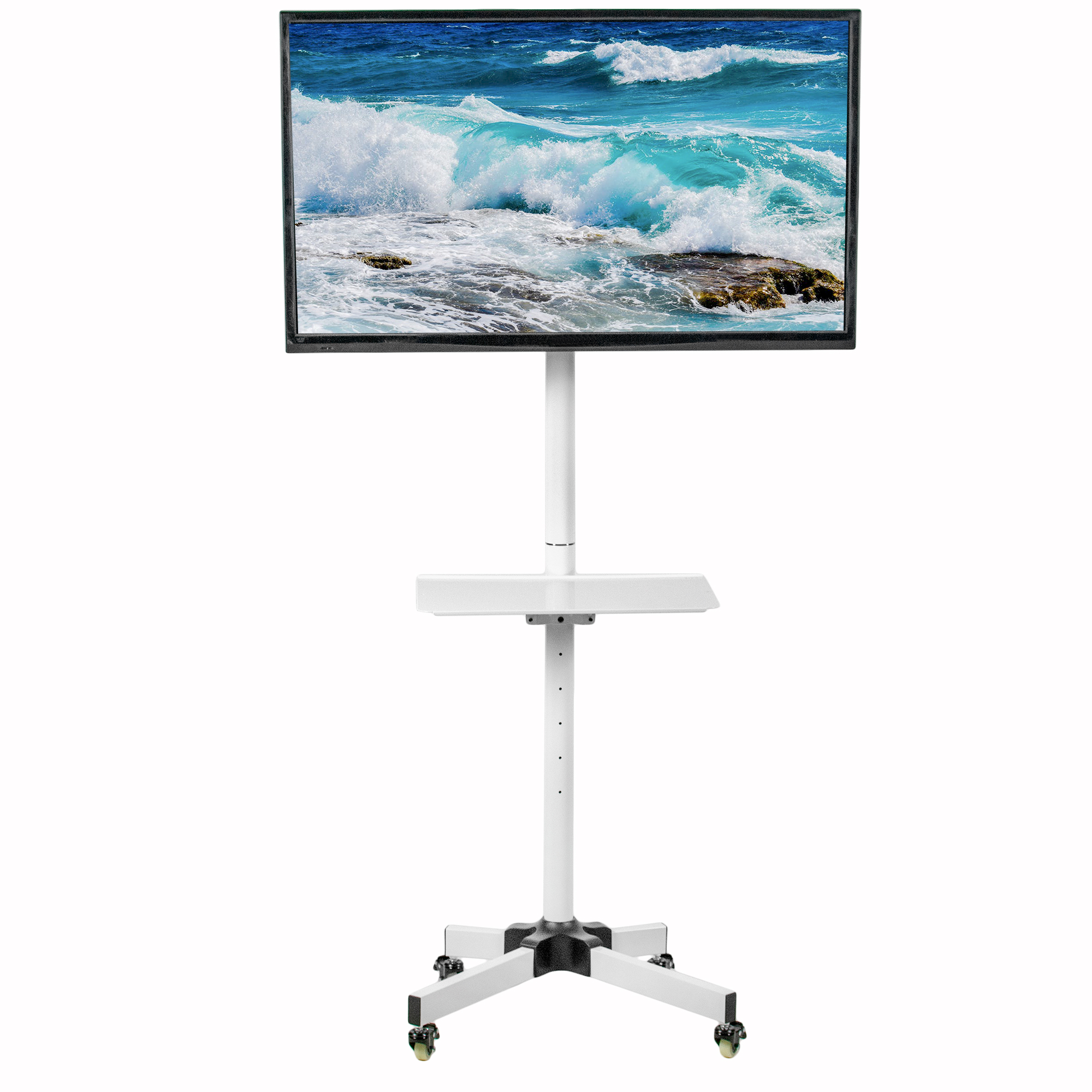 Vivo White Mobile Tv Cart For 23 To 55 Lcd Led Plasma Flat Screens Trolley Floor Stand With Wheels Tv04mw