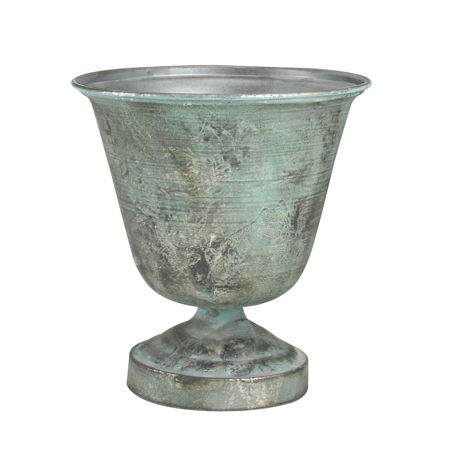 10.25� Simply Elegant Distressed Silver and Verdigris Decorative Metal Urn Planter by Allstate