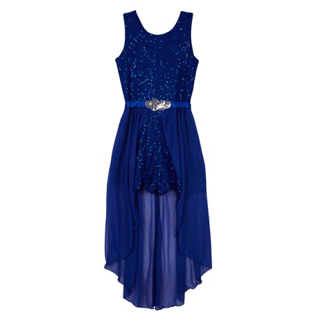 Sequin Lace Walk-thru Romper Dress (Big Girls Plus)