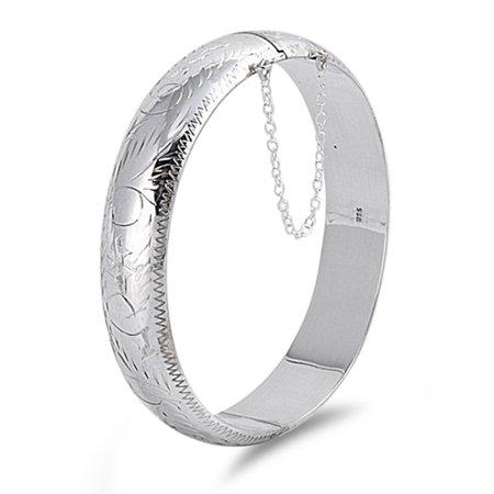 Chain Slip-On Bangle Engraved Bracelet .925 Sterling Silver
