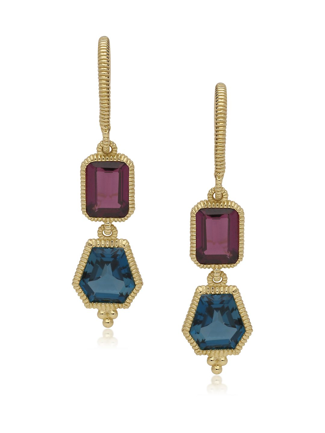 Boca Rhodolite, London Blue Topaz and 14K Yellow Gold Drop Earrings