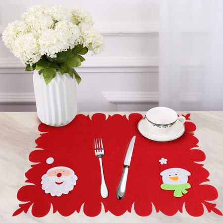 HURRISE Table Placemats Nonwoven Fabric Pad Christmas Dinning - Table pad fabric