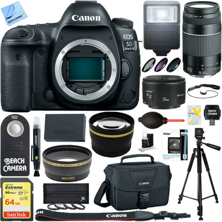 Canon EOS 5D Mark IV 30.4 MP Full Frame CMOS DSLR Camera Body with EF 75-300mm F4-5.6 III Lens + EF 50mm F1.8 STM Prime Lens and 0.43x Wide Angle & 2.2x Telephoto Ultimate (Canon 5d Mark 3 Best Price)
