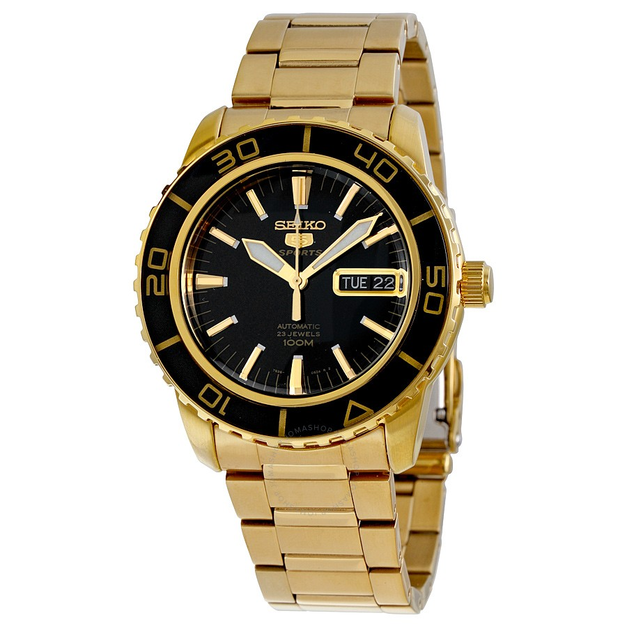Seiko 5 Automatic Black Dial Gold-tone Mens Watch SNZH60