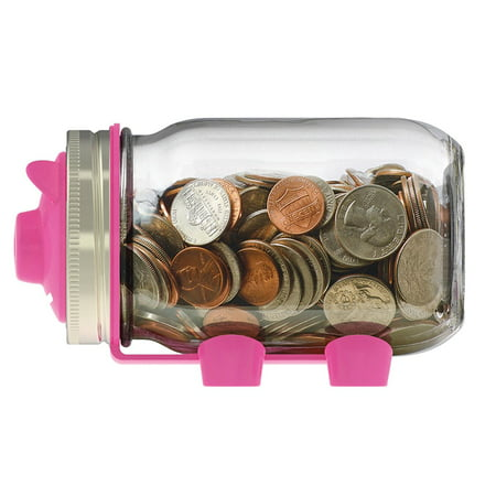 82600 Piggy Bank Lid For Regular Mouth Mason Jars  Pink  Ball Bank Set Fits Regular For Lids Adapter Metal 82637 2Pack 82600 Coin Mouth By Of Jellyjam Pack    By Jarware