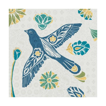 Nordic Woodcut Bird IFII Print Wall Art By Daphne