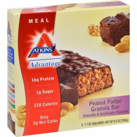 Atkins Advantage Bar Peanut Fudge Granola - 5 Bars Advantage Peanut Fudge Granola