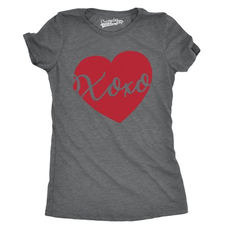 Womens Xoxo Script Heart Cute Valentines Day Hugs and Kisses T shirt for Ladies - Valentine's Day Tree
