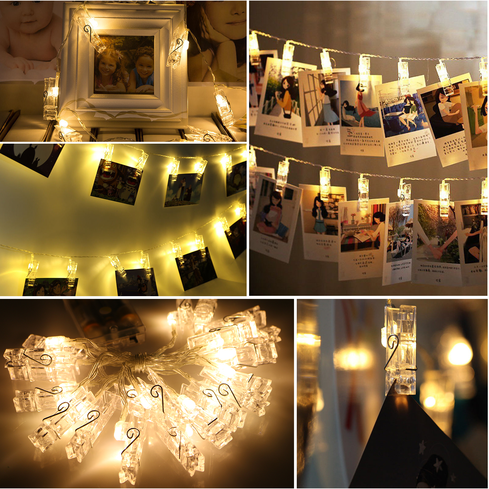 EEEKit 2-Pack 20 Clip LED Photo String Light Battery Powered Fairy Wedding Party Christmas Home Decoration for Hanging Photos Cards and Artwork