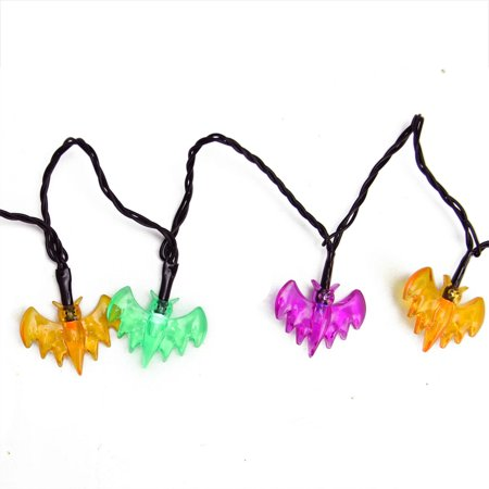 Set of 10 Multi-Color Bat LED Novelty Halloween Lights - Black Wire - Halloween Bat Lights