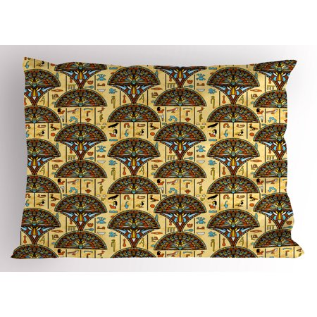 Egyptian Pillow Sham Colorful Folkloric Traditional Ornaments Archeology History Theme Tribal Antique, Decorative Standard Queen Size Printed Pillowcase, 30 X 20 Inches, Multicolor, by Ambesonne